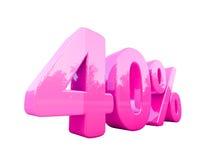 Sinal de por cento cor-de-rosa isolado Imagem de Stock