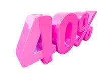 Sinal de por cento cor-de-rosa isolado Fotografia de Stock
