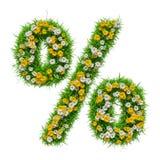 Sinal de por cento da grama verde e das flores Imagens de Stock