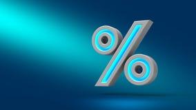 sinal de por cento de néon da rendição 3D isolado no fundo azul Imagens de Stock Royalty Free