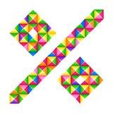 Sinal de por cento do origâmi Um efeito realístico do origâmi 3D da letra isolado Figura do alfabeto, dígito ilustração do vetor