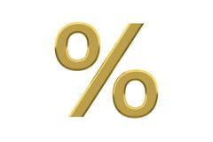 Sinal de por cento dourado Fotos de Stock Royalty Free