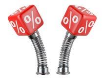 Sinal de por cento em uma mola Conceito do negócio Imagem de Stock Royalty Free