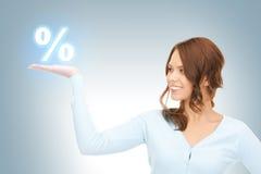 Sinal de por cento nas palmas Imagem de Stock