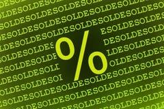 Sinal de por cento no texto dos soldes Imagem de Stock