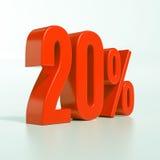 Sinal de 20 por cento vermelho Imagem de Stock Royalty Free