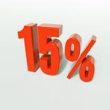 Sinal de 15 por cento vermelho Foto de Stock Royalty Free