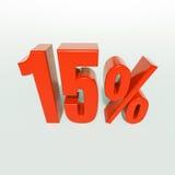 Sinal de 15 por cento vermelho Fotografia de Stock Royalty Free