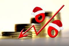 Sinal de por cento vermelho em um fundo do dinheiro Imagem de Stock