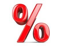 Sinal de por cento vermelho grande ilustração do vetor