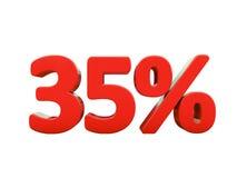 Sinal de por cento vermelho isolado Imagens de Stock