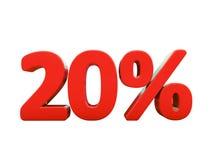 Sinal de por cento vermelho isolado Fotos de Stock Royalty Free