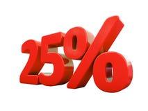 Sinal de por cento vermelho isolado Imagem de Stock
