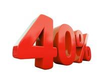 Sinal de por cento vermelho isolado Fotografia de Stock