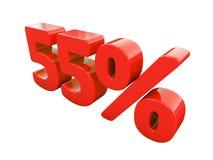Sinal de 55 por cento vermelho isolado Fotografia de Stock