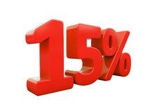 Sinal de 15 por cento vermelho isolado Fotografia de Stock Royalty Free