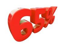Sinal de 65 por cento vermelho isolado Foto de Stock Royalty Free