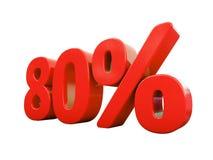 Sinal de 80 por cento vermelho isolado Foto de Stock Royalty Free