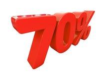 Sinal de 70 por cento vermelho isolado Imagens de Stock Royalty Free