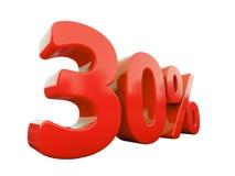 Sinal de 30 por cento vermelho isolado Imagens de Stock Royalty Free