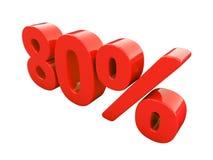 Sinal de 80 por cento vermelho isolado Imagens de Stock