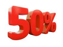 Sinal de 50 por cento vermelho isolado Fotografia de Stock Royalty Free
