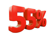 Sinal de 55 por cento vermelho isolado ilustração royalty free