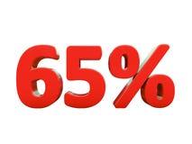 Sinal de 65 por cento vermelho isolado Fotos de Stock Royalty Free