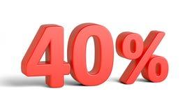 Sinal de por cento vermelho no fundo branco Fotografia de Stock Royalty Free