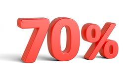 Sinal de por cento vermelho no fundo branco Foto de Stock Royalty Free