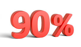 Sinal de por cento vermelho no fundo branco Fotos de Stock