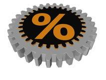 Sinal de porcentagem - engrenagem - 3D ilustração do vetor