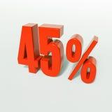Sinal de porcentagem, 45 por cento Imagens de Stock