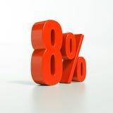 Sinal de porcentagem, 8 por cento Fotografia de Stock