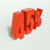 Sinal de porcentagem, 45 por cento Foto de Stock Royalty Free