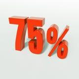 Sinal de porcentagem, 75 por cento Imagens de Stock