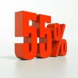 Sinal de porcentagem, 55 por cento Fotografia de Stock