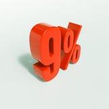 Sinal de porcentagem, 9 por cento Foto de Stock Royalty Free