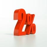 Sinal de porcentagem, 2 por cento Foto de Stock