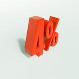 Sinal de porcentagem, 4 por cento Fotografia de Stock
