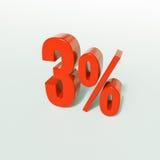 Sinal de porcentagem, 3 por cento Imagens de Stock Royalty Free