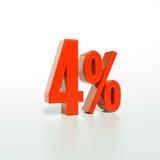 Sinal de porcentagem, 4 por cento Foto de Stock Royalty Free