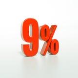 Sinal de porcentagem, 9 por cento Imagens de Stock Royalty Free