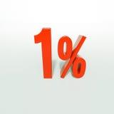 Sinal de porcentagem, 1 por cento Imagem de Stock