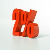 Sinal de porcentagem, 2 por cento Foto de Stock Royalty Free