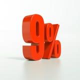 Sinal de porcentagem, 9 por cento Fotografia de Stock Royalty Free