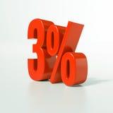 Sinal de porcentagem, 3 por cento Imagens de Stock