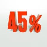 Sinal de porcentagem, 45 por cento Imagens de Stock Royalty Free