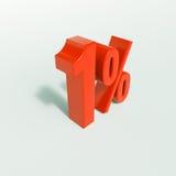 Sinal de porcentagem, 1 por cento Fotografia de Stock