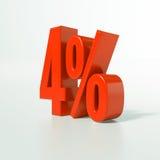 Sinal de porcentagem, 4 por cento Imagens de Stock Royalty Free